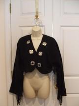 New In Pkg Frederick's Of Hollywood Goth Bolero Fringed Jacket Jr. Medium 7-9 - $28.95