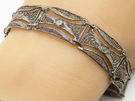 925 Silver - Vintage Antique Lace Filigree Curved Linked Chain Bracelet ... - $32.16