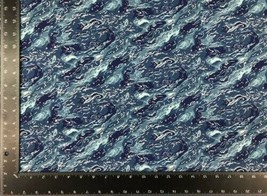 Ocean Sea Waves Blue 100% Cotton High Quality Fabric Material 3 Sizes - $7.13+