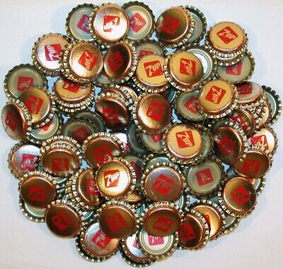 Primary image for Soda pop bottle caps Lot of 100 plastic lined 7UP unused and new old stock