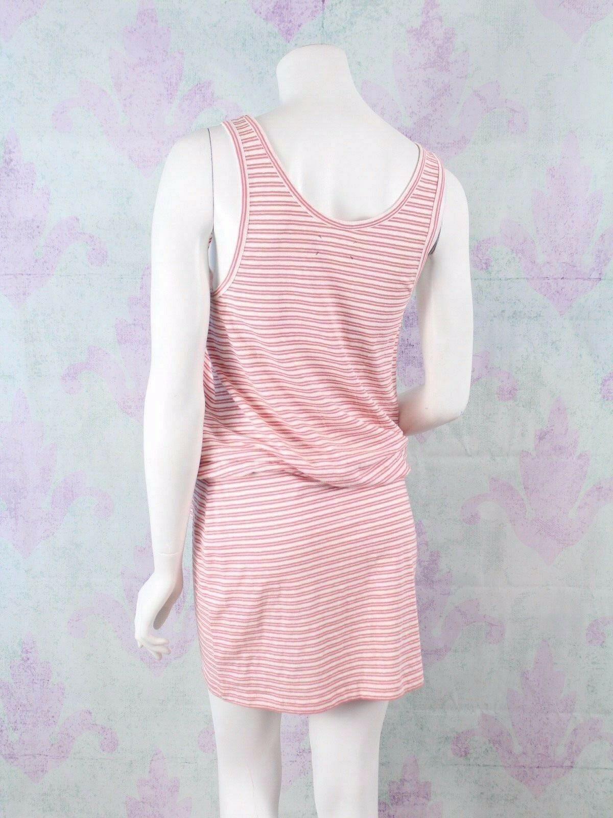 Lou & Grey Small S Ann Taylor LOFT Orange Stripe Linen Cotton Blouson Tank Dress