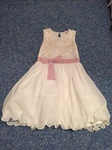 Little MissDress beige floral  sequin sleevless party dress age 7-8 years - $13.70