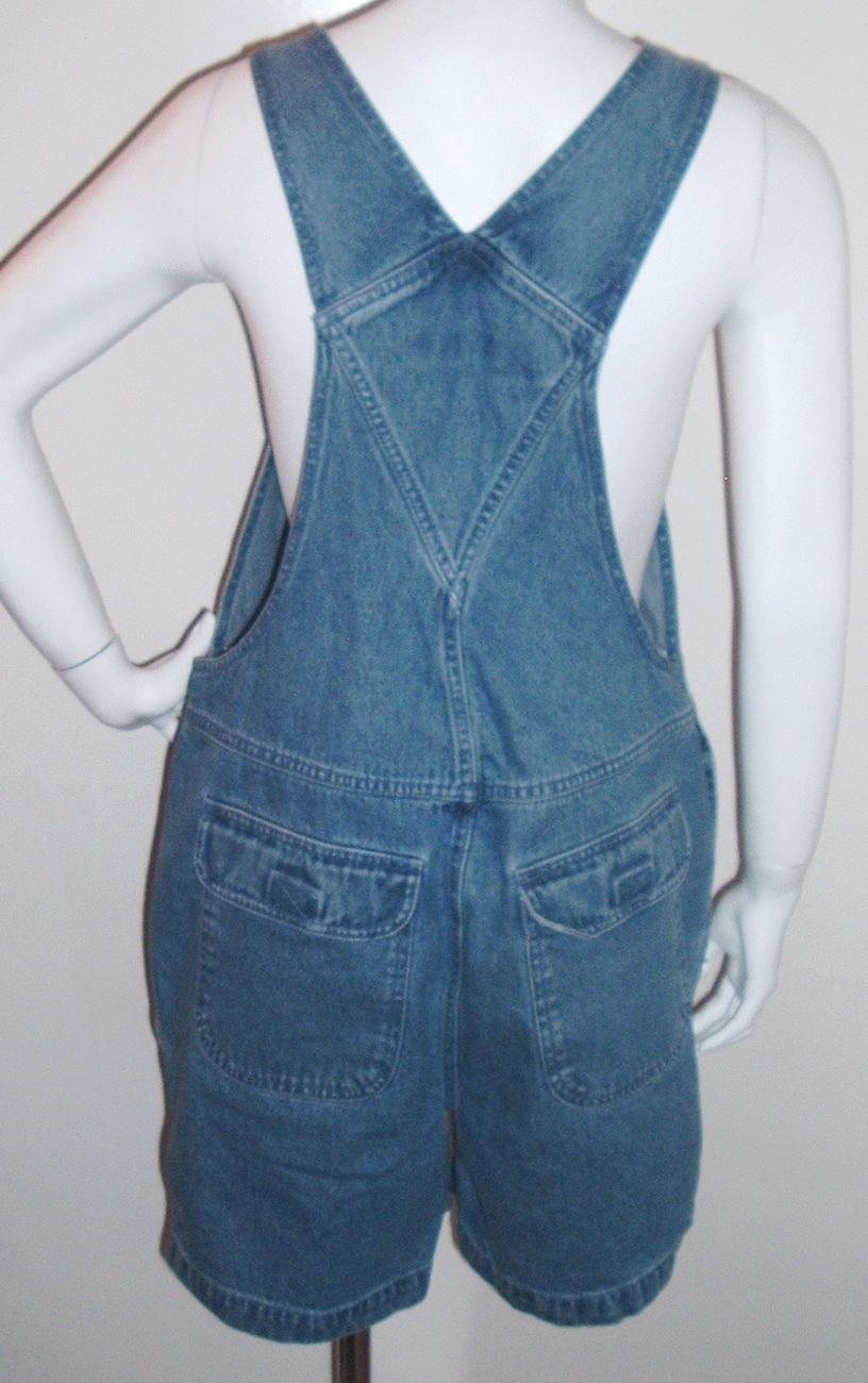 Cherokee Bib Overalls Shorts Denim Blue Size S NWOT