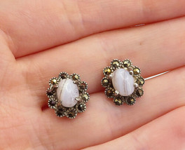 925 Sterling Silver - Vintage Cabochon Agate & Marcasite Stud Earrings -... - $25.23