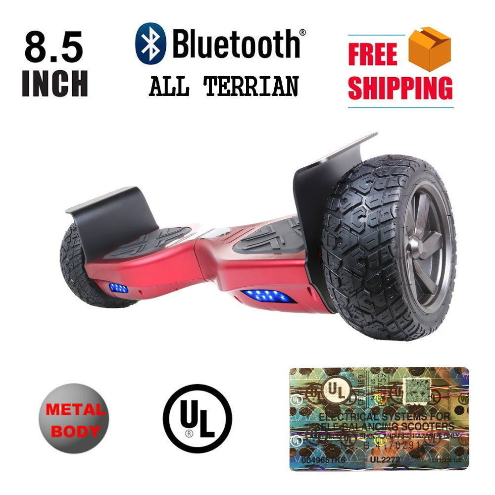 """Heavy Duty Red Metal 8.5"""" All Terrain Off Road Bluetooth Hoverboard Scooter"""