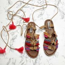 Steve Madden Alisa Sandals Size 7 Boho Gladiator Flat Pompom Tassels Emb... - $29.40