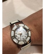 Vintage Style White Mother Of Pearl Bangle Cuff Bracelet Watch - $51.48