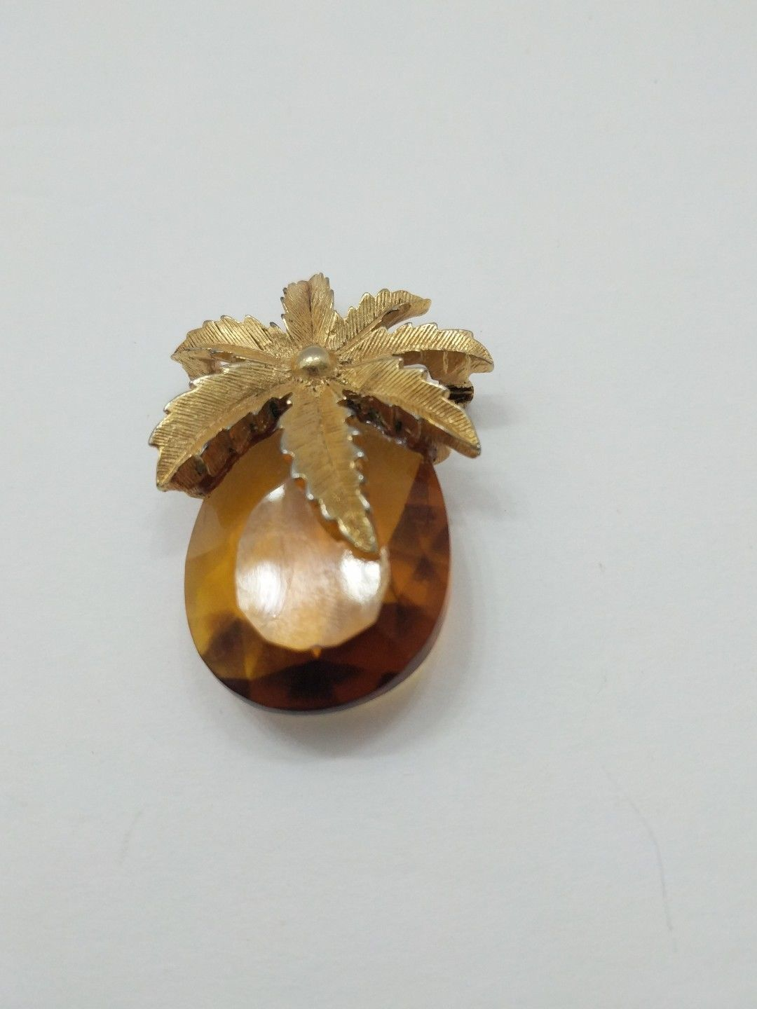Vintage Sarah Coventry Crystal Topaz Pineapple Pin, Pendant,  Brooch