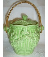 Pottery Cracker Jar w/Wicker Handle OLD JAPAN - $48.50