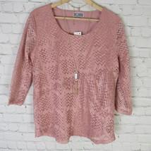 Jm Collection XS Top para Mujer Color Rosa Encaje con Lentejuelas Collar... - $36.57