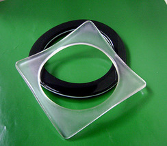 2 Vintage Clear Square Lucite and Black White Laminated Bracelets 1980s - $25.00