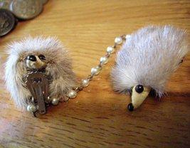 Vintage Mink Deco Scarf Holder Clip Chain - $12.95