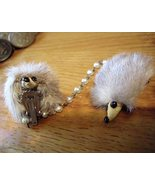 Vintage Mink Deco Scarf Holder Clip Chain - $12.95