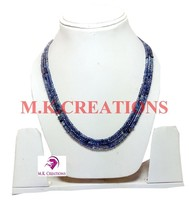 """3-4mm Natural Shaded Iolite Faceted Beads 24"""" 3 strand Multi Layer Necklace - $43.28"""