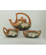 Roseville USA Brown Magnolia Tea Set With Lidded Teapot Creamer & Sugar  - $550.00