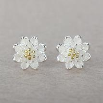 JEXXI 925 Sterling Silver Flower Themed Exquisite Stud Earrings for Ladies - $6.99