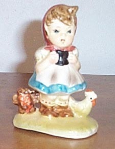 Vintage  Figure Girl With Chicken Made in Japan