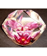 Vintage Purple Orchid LUCITE Paperweight - $30.00