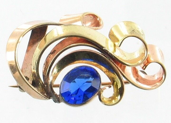Primary image for VINTAGE DECO RETRO GOLD FILLED ROSE YELLOW GOLD & FAUX SAPPHIRE GLASS STONE PIN
