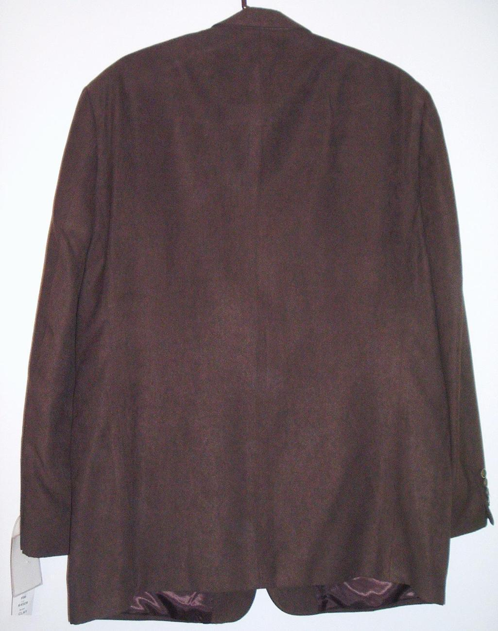 Andrew Fezza Brown Poly Suede Sport Coat Jacket 46L NWT