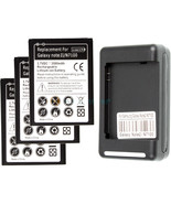 3 replacement battery and Wall Charger for Samsung Galaxy Note 2 II GT-N... - $31.43