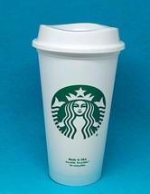 STARBUCKS Reusable Coffee Cup Tea 16oz Plastic Tumbler Grande Mug Recycl... - $3.91