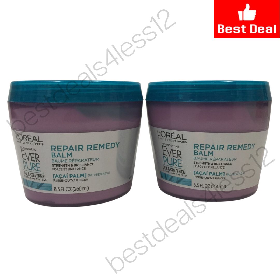 (New) L'Oreal Paris Ever Pure Sulfate Free Repair Remedy Balm, 8.5 oz Pack of 2 - $17.32