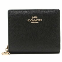 NWT COACH Snap Wallet Card Case Coin ID Window Pouch Black Gold C2862 FR... - $87.12