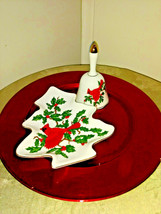 Vintage Lefton Red Cardinal w/Holly Christmas Bell and Relish or Candy Dish - $15.35