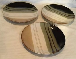 "Lot of 3 Home Trends Jazz Salad Sandwich Plates Green Brown Cream 8"" - $17.81"