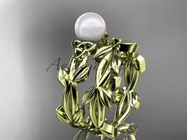 Celtic yellow gold pearl leaves bridal ring set CTP7522S - $1,125.00