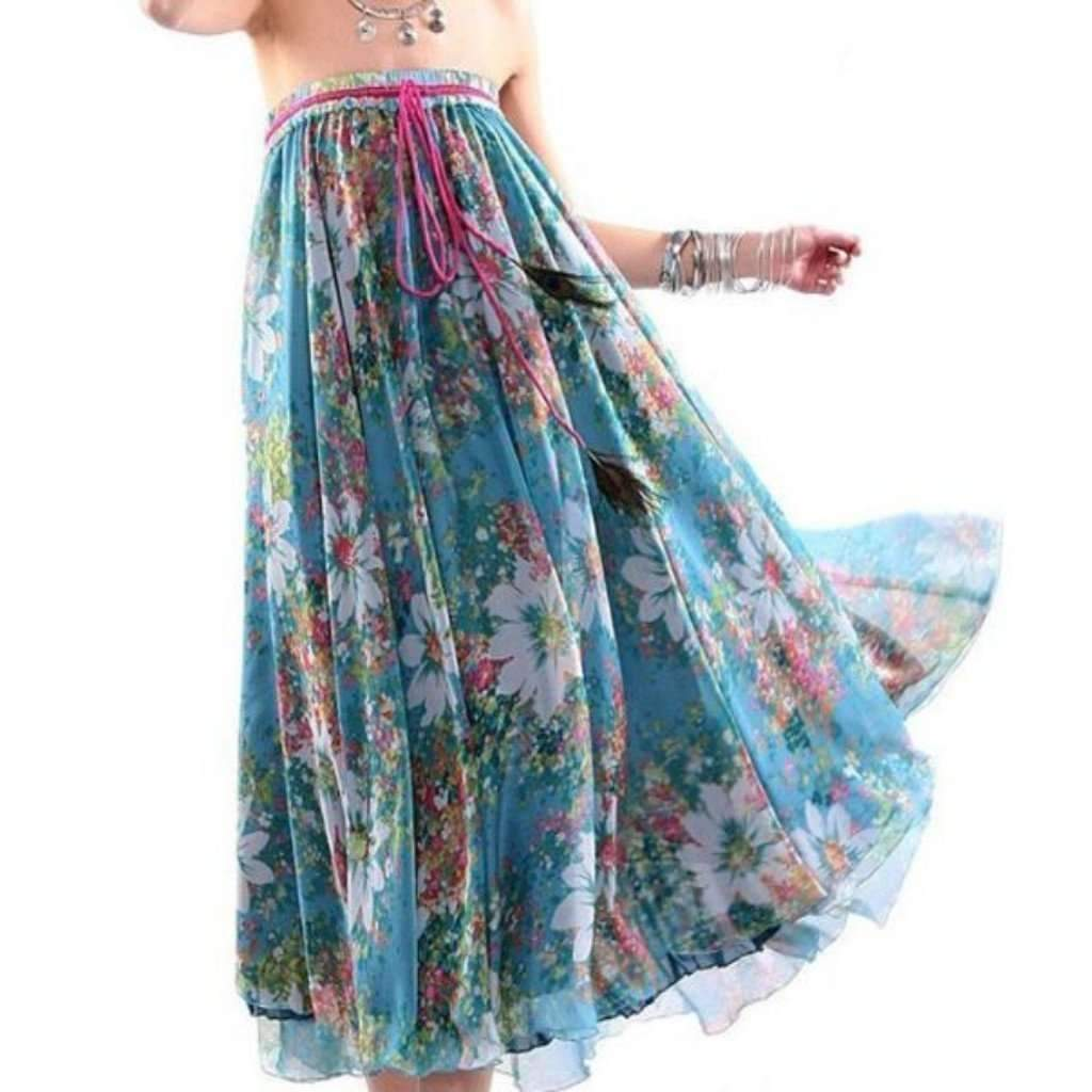 Aisy dress for less maxi skirts fashionable floral print chiffon women long skirts 1397058437151