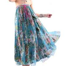 Fashionable Floral Print Chiffon Women Long Skirts - $25.00