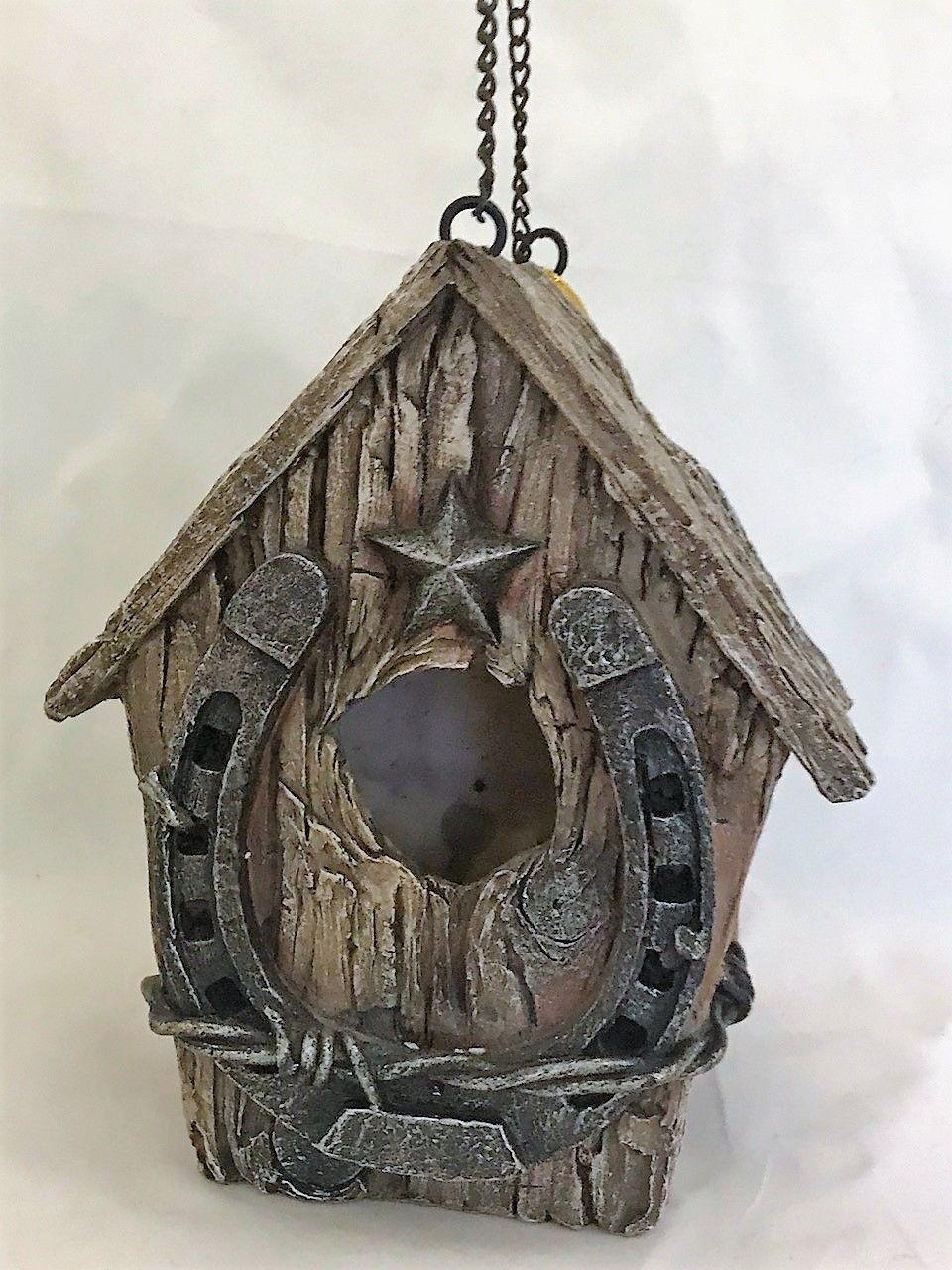 Rustic Western Design Hanging Birdhouse w Horseshoe Detailing Polystone NEW