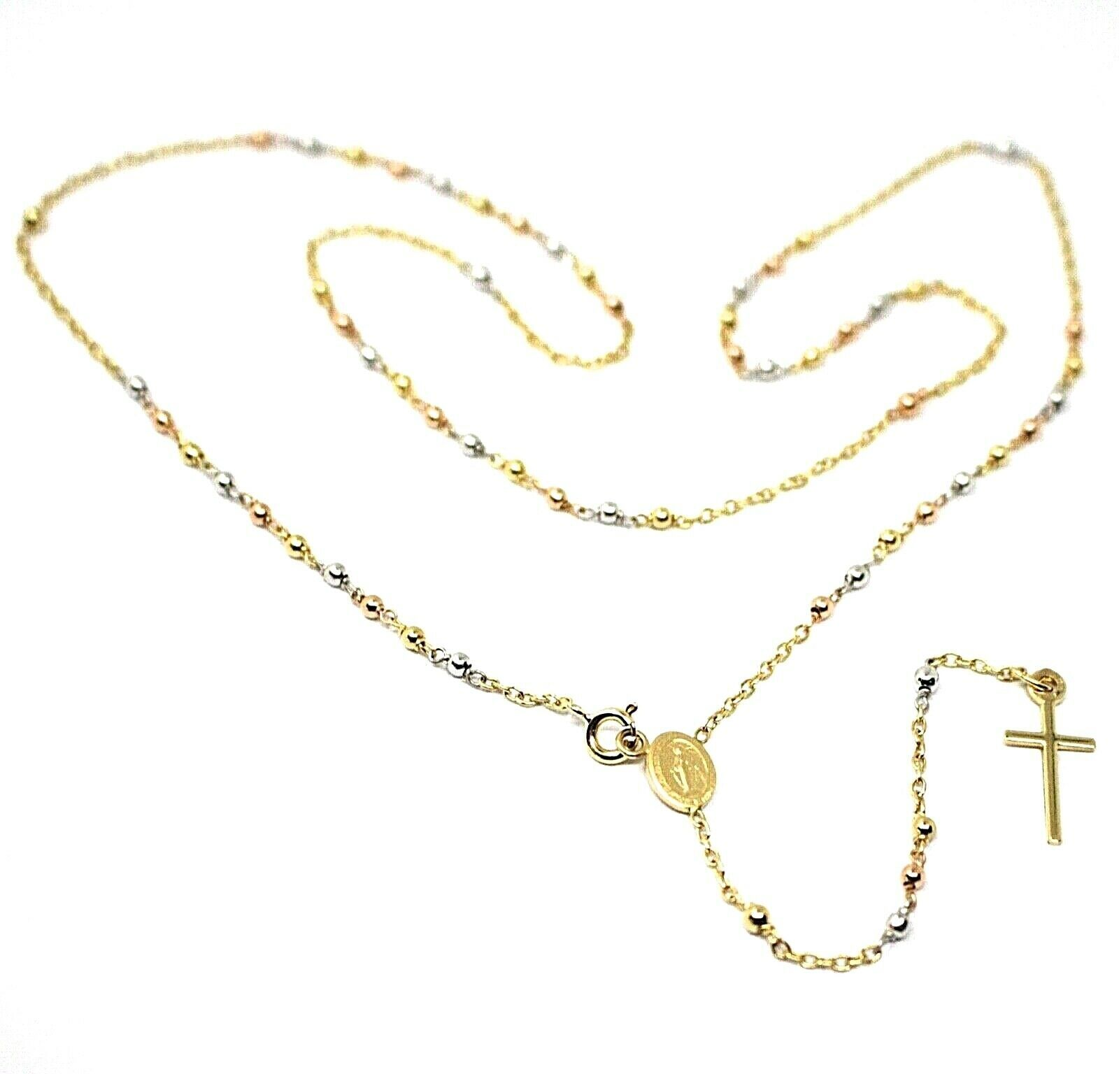"""18K YELLOW ROSE WHITE GOLD 20.5"""" ROSARY NECKLACE MIRACULOUS MEDAL CROSS"""