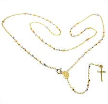"""18K YELLOW ROSE WHITE GOLD 20.5"""" ROSARY NECKLACE MIRACULOUS MEDAL CROSS image 1"""