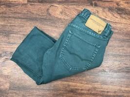 AMERICAN EAGLE Skinny Leg Mid Rise Green Denim Jeans Men's Size 26 W 28 L - $339,08 MXN