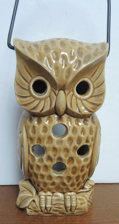 Vintage Tea Lantern Brown Owl With Bale Handle