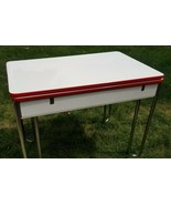 1950s Kuehne Khrome Red White Porcelain Top Chrome Leg Refectory Table - $194.00
