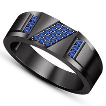 Blue Sapphire Mens Anniversary Ring 14k Black Gold Finish 925 Sterling S... - $93.99