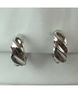 """VINTAGE SILVER TONE CLIP-ON HINGED EARRINGS Cuff 1"""" - $11.85"""