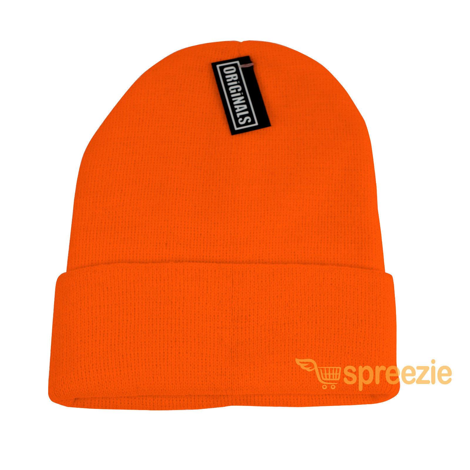 c869fbb21 Orange Beanie Plain Knit Ski Hat Skull Cap and 50 similar items