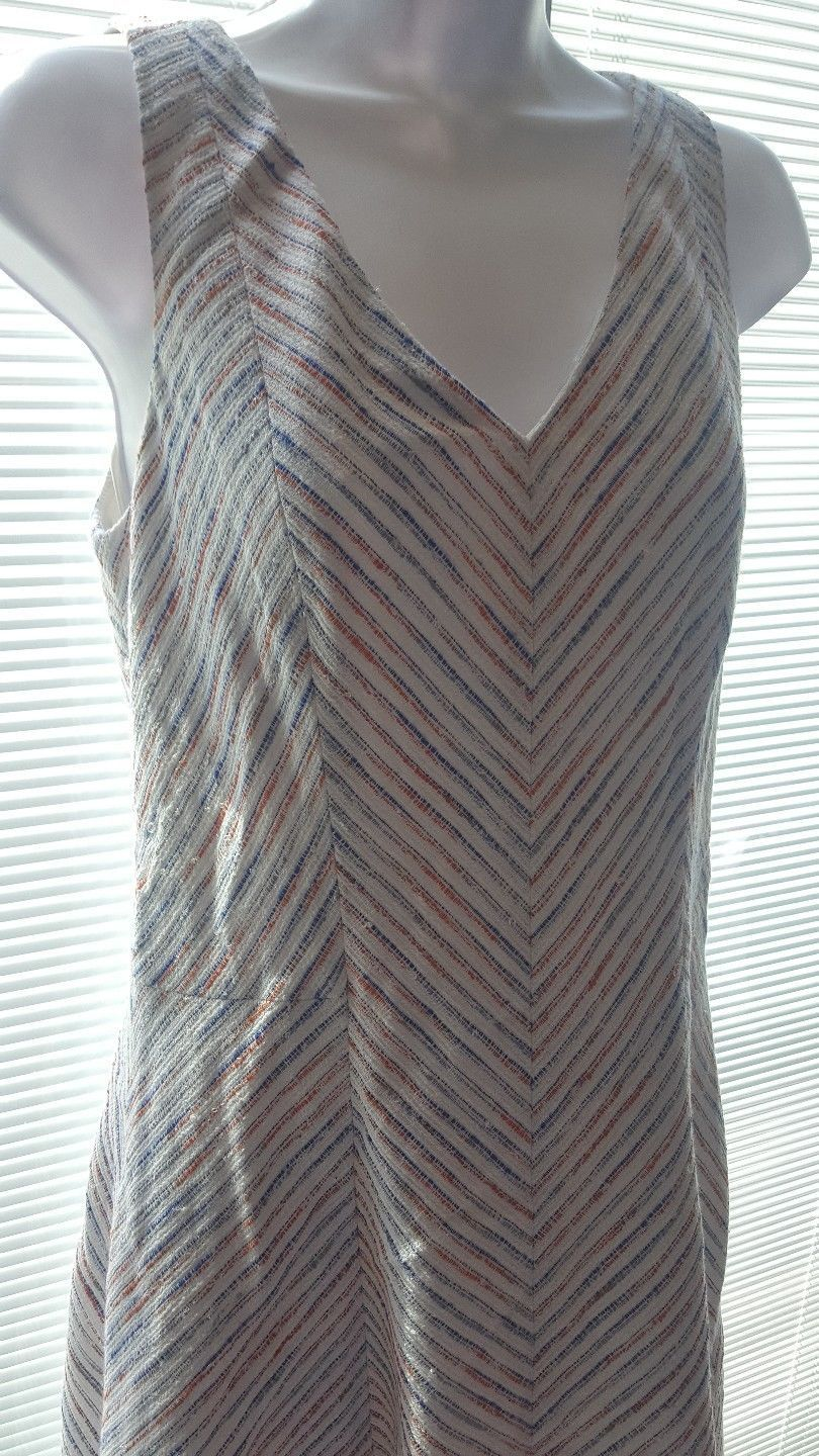 Tommy Hilfiger Women Beige Blue Striped Flare Sleeveless Dress Cotton Blend 8 image 2
