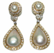 14k Yellow Gold Mabe Pearls and 2.0tdw Diamond 2 Inch Dangle Style Earrings - $3,950.00