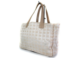 Authentic CHANEL Travel line Canvas Leather Beige Tote Bag CT14586L - $219.00