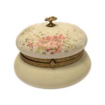 Wave Crest Round Glass Antiqued Vanity Box Lid Gilt Finial Trim Pink Sat... - $395.00