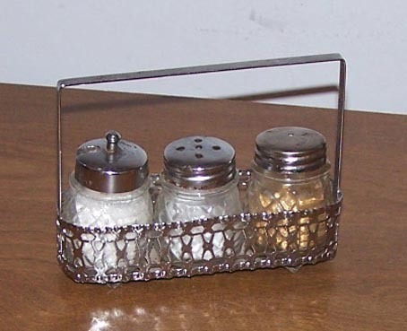 Salt And Pepper Shakers 3 Glass In Metal Basket Holder