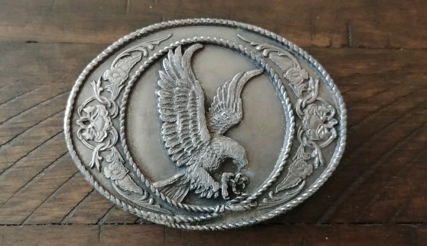 Vintage 1991 Siskiyou American Eagle Mens Pewter Belt Buckle Heavy USA 3-D Nice!