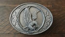Vintage 1991 Siskiyou American Eagle Mens Pewter Belt Buckle Heavy USA 3-D Nice! - $36.77