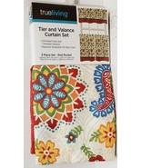 "3 Pc. Curtains Set: 2 Tiers (27""x36"") & Valance (54""x14"") FLOWERS & PAIS... - $24.74"